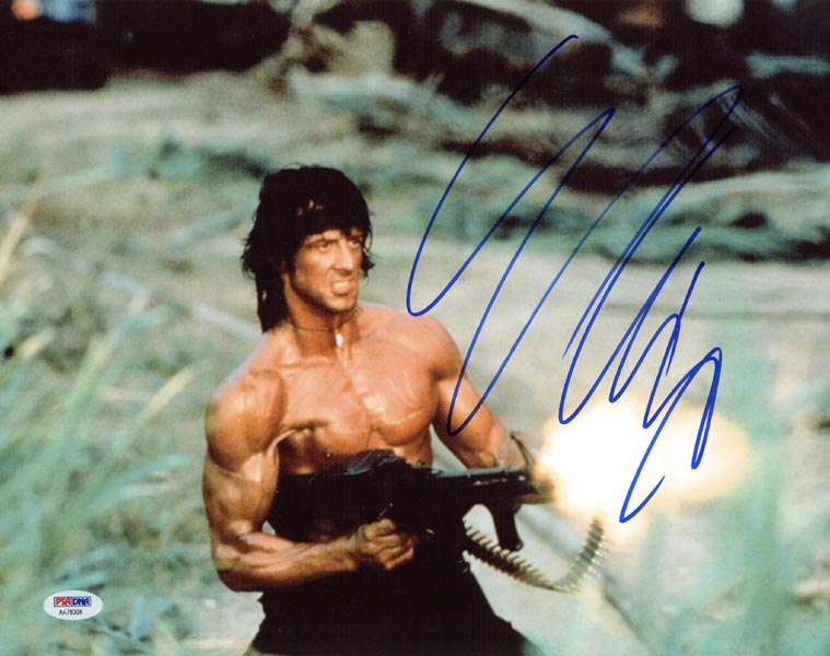 Sylvester Stallone 14x11 autographed photo as Rambo